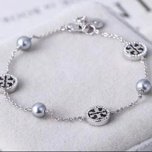 silver tory burch crystal logo bracelet